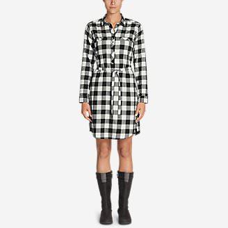 Women's Stine's Favorite Flannel Shirt Dress in Black