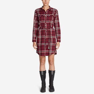Women's Stine's Favorite Flannel Shirt Dress in Red