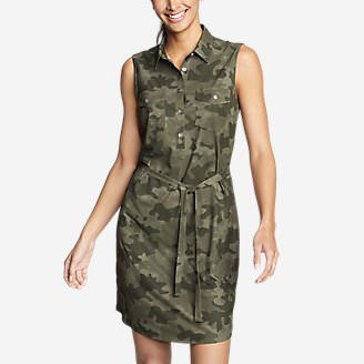 Women's Departure Sleeveless Shirt Dress - Print in Green
