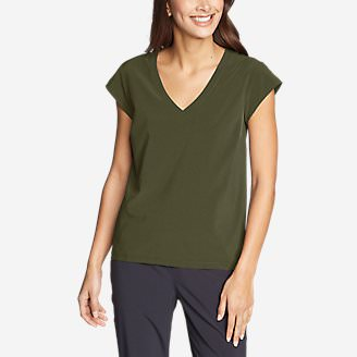 Women's Departure Short-Sleeve V-Neck T-Shirt in Green