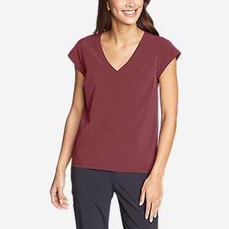 Women's Departure Short-Sleeve V-Neck T-Shirt in Red