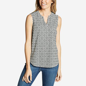 Women's Departure Sleeveless Top - Print in White