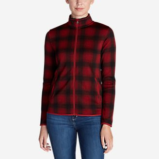 Women's Radiator Fleece Full Zip Jacket - Plaid in Red