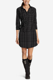 Women's Departure Shirt Dress - Plaid in Black