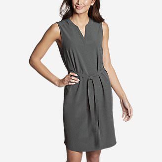 Women's Departure Split-Neck Dress in Gray