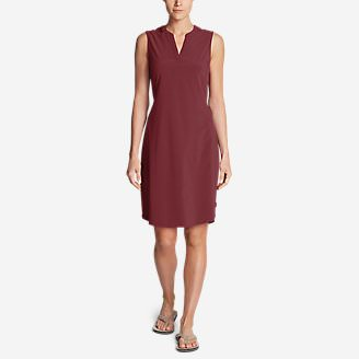 Women's Departure Split-Neck Dress in Red