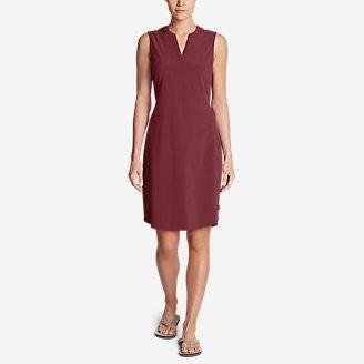 Women's Departure Split-Neck Dress in Red