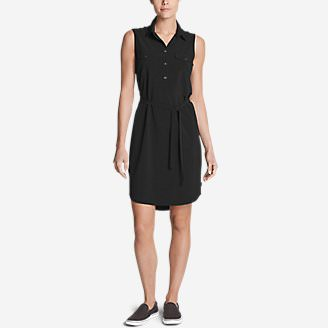 Women's Departure Sleeveless Shirt Dress in Black