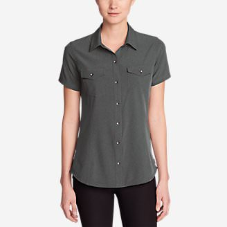 Women's Departure Short-Sleeve Shirt in Gray