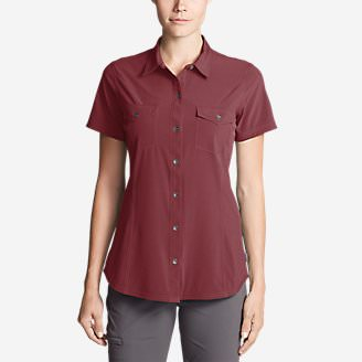 Women's Departure Short-Sleeve Shirt in Red
