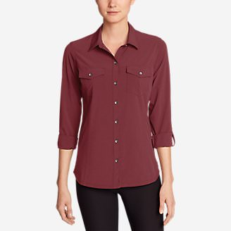 Women's Departure Long-Sleeve Shirt in Red