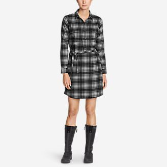 Women's Eddie Bauer Expedition Flex Performance Flannel Shirt Dress in Gray