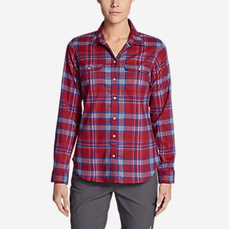 Women's Eddie Bauer Expedition Flex Performance Flannel Shirt in Purple