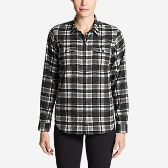 Women's Eddie Bauer Expedition Flex Performance Flannel Shirt in Black