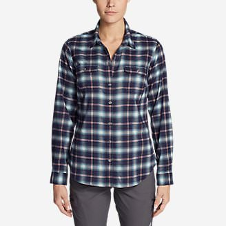 Women's Eddie Bauer Expedition Flex Performance Flannel Shirt in Blue
