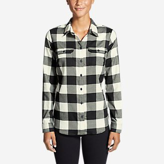 Women's Eddie Bauer Expedition Flex Performance Flannel Shirt in White