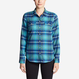 Women's Eddie Bauer Expedition Flex Performance Flannel Shirt in Green