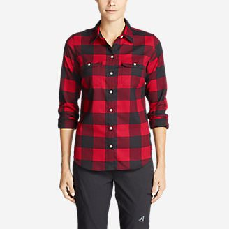 Women's Eddie Bauer Expedition Flex Performance Flannel Shirt in Red
