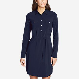 Women's Departure Long-Sleeve Shirt Dress in Blue