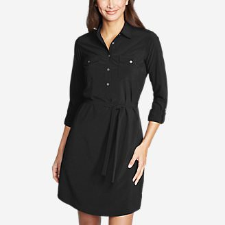 Women's Departure Long-Sleeve Shirt Dress in Black