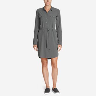 Women's Departure Long-Sleeve Shirt Dress in Gray