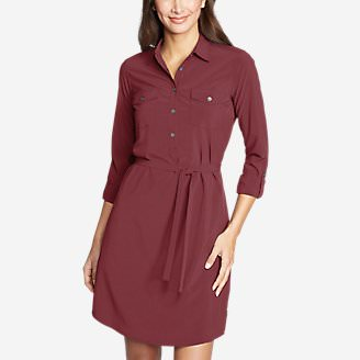 Women's Departure Long-Sleeve Shirt Dress in Red
