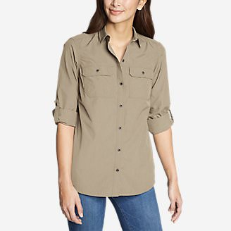 Women's Atlas Exploration Boyfriend Cargo Shirt in Beige