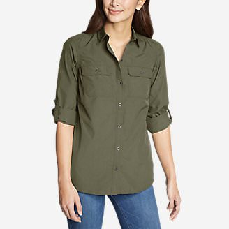 Women's Atlas Exploration Boyfriend Cargo Shirt in Green