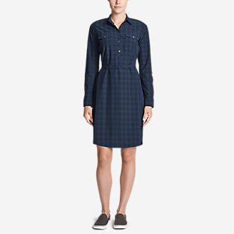 Women's Departure Long-Sleeve Shirt Dress - Plaid in Blue