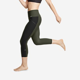Women's Trail Tight High Rise Capris - Colorblock in Green