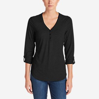 Women's Mercer Knit Henley Shirt in Black