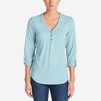 Women's Mercer Knit Henley Shirt in Blue