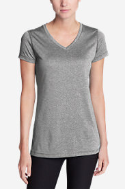 Women's Resolution V-Neck Shirt - Striped in Gray