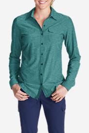 Women's Infinity Long-Sleeve Button-Front Shirt in Green