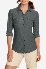 Women's Infinity Long-Sleeve Button-Front Shirt in Gray