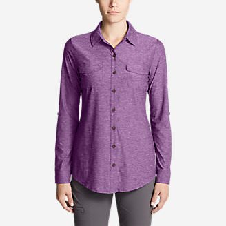 Women's Infinity Long-Sleeve Button-Front Shirt in Purple