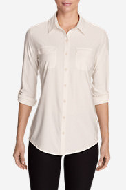 Women's Infinity Long-Sleeve Button-Front Shirt in White