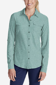 Women's Infinity Long-Sleeve Button-Front Shirt in Blue