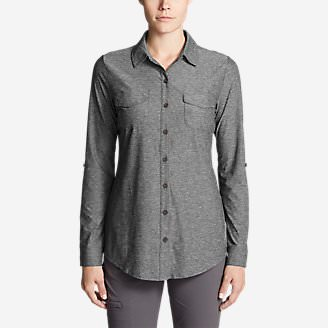 828bbca21 Women's Infinity Long-Sleeve Button-Front Shirt in Gray