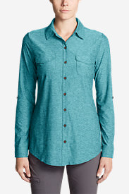 Women's Infinity Long-Sleeve Button-Front Shirt in Green