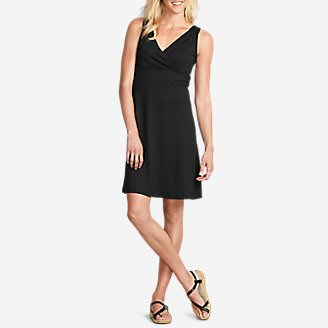 Women's Aster Crossover Dress - Solid in Black