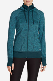 Women's Crossover Fleece Funnel-Neck Hoodie in Green