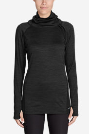 Women's Crossover Fleece Funnel-Neck Pullover in Black