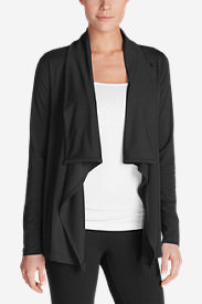 Women's Daisy Button Wrap in Black