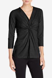 Women's Girl On The Go 3/4-Sleeve Twist Front Top in Black