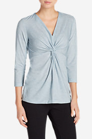 Women's Girl On The Go 3/4-Sleeve Twist Front Top in Blue