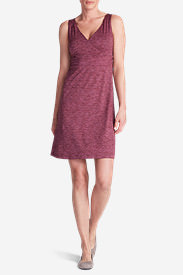 Women's Aster Crossover Dress - Spacedye in Red