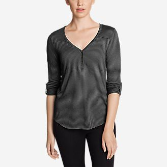 Women's Mercer Knit Henley Shirt - Stripe in Black