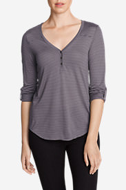 Women's Mercer Knit Henley Shirt - Stripe in Purple