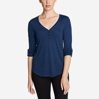 Women's Mercer Knit Henley Shirt - Stripe in Blue